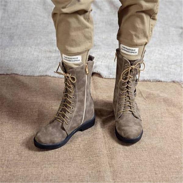 Dámské PU Široký podpatek Mid-Calf Boots S Šněrovací obuv