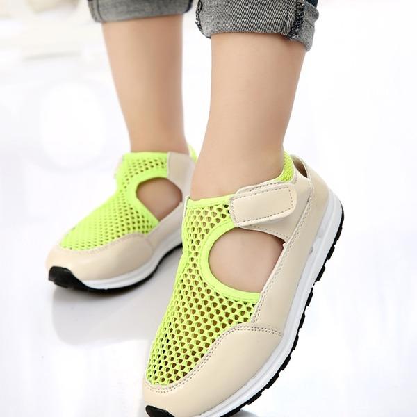 A menina de Fechados imitação de couro Mesh Heel plana Sem salto Sneakers & Athletic com Velcro
