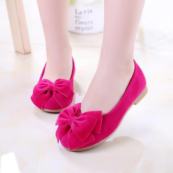 Fille de Bout fermé Suède talon plat Chaussures plates Chaussures de fille de fleur avec Bowknot