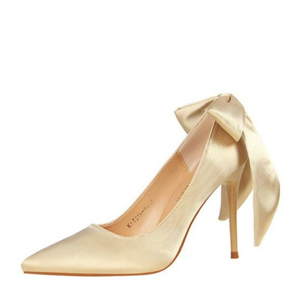 Women's Satin Stiletto Heel Pumps Closed Toe With Bowknot shoes