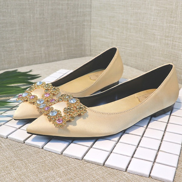 Women's Satin Flat Heel Closed Toe Flats With Crystal