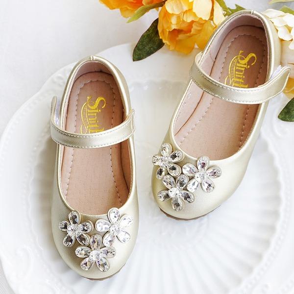 Mädchens Round Toe Geschlossene Zehe Leder Flache Ferse Flache Schuhe Blumenmädchen Schuhe mit Kristall