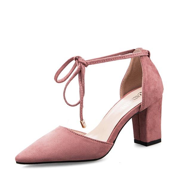 Frauen Veloursleder Stämmiger Absatz Sandalen Absatzschuhe Geschlossene Zehe mit Bowknot Zuschnüren Schuhe
