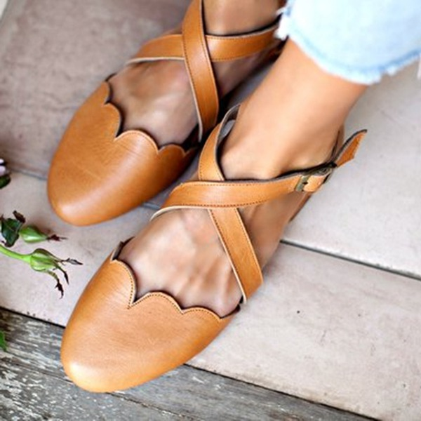 Femmes PU Talon bas Chaussures plates avec Boucle chaussures