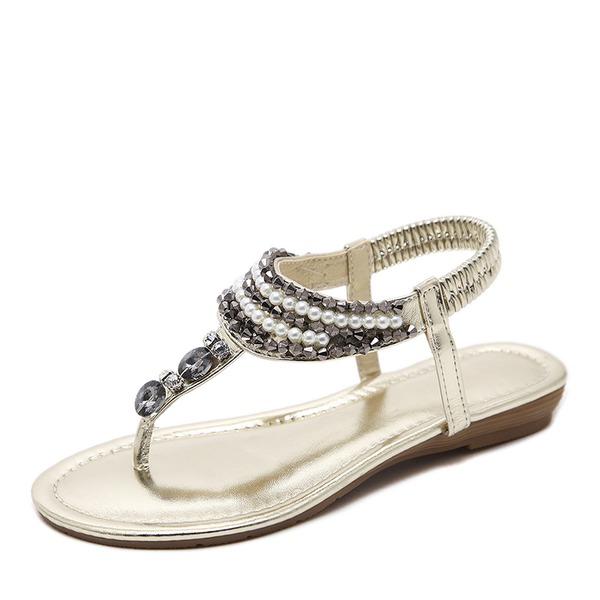 Vrouwen Kunstleer Low Heel Sandalen Flats Peep Toe Slingbacks met Strass Imitatie Parel Elastiek schoenen