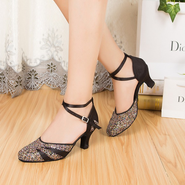 Women's Satin Sparkling Glitter Heels Pumps Ballroom With Ankle Strap Dance Shoes