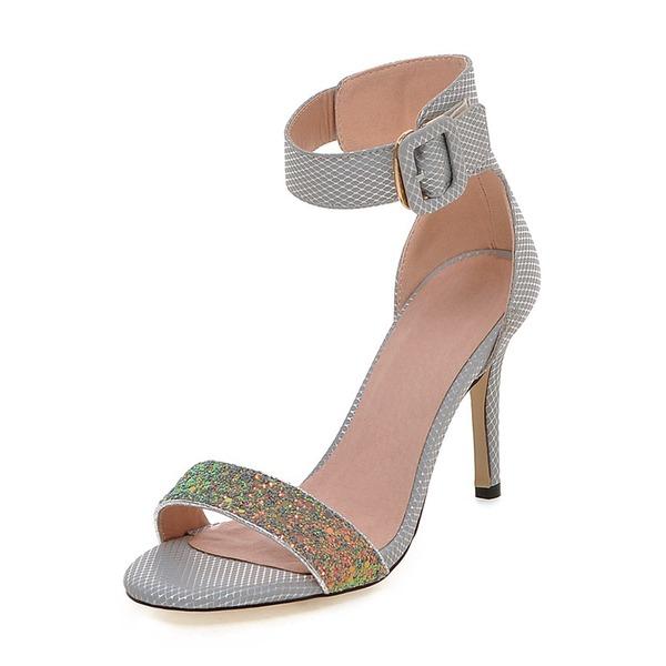 Femmes Pailletes scintillantes PU Talon stiletto Sandales Escarpins À bout ouvert avec Boucle chaussures