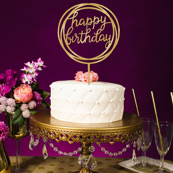 Klasik/Doğum günün kutlu olsun Akrilik Kek Topper