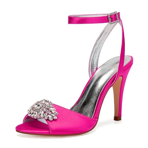 Kadın İpeksi Saten İnce Topuk Peep Toe Pompalar Sandalet Ile Yapay elmas