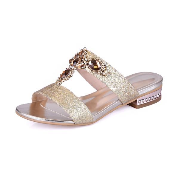 Funkelnde Glitzer Niederiger Absatz Sandalen Flache Schuhe Peep Toe Pantoffel mit Strass Kristall Schuhe