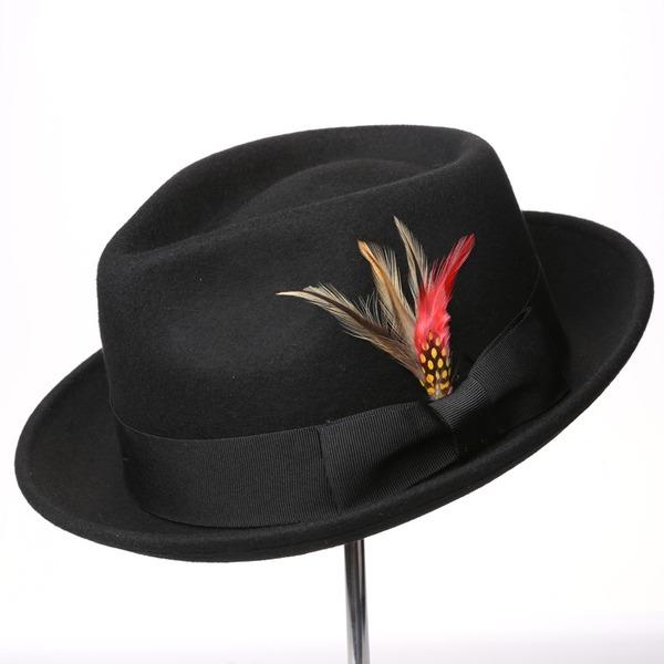 Sonar Naisten Loistokkaat/Classic/Tyylikäs Villa jossa Feather/Bowknot Levyke hattu