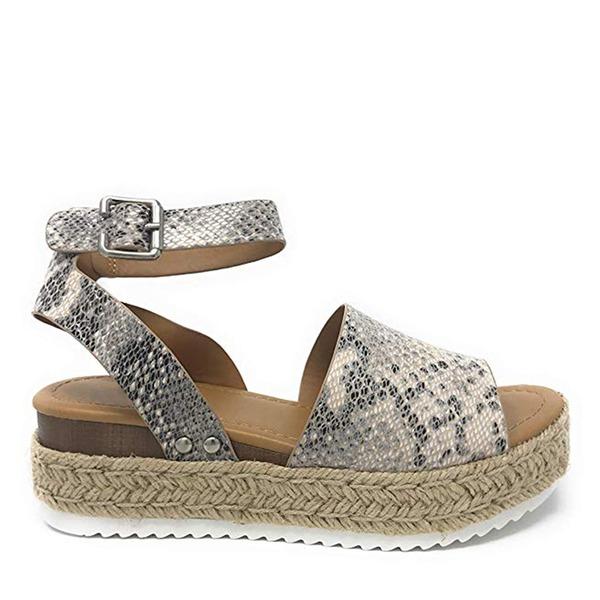 Femmes PU Talon compensé Sandales Compensée avec La copie Animale chaussures