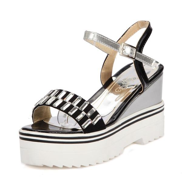 Frauen PU Keil Absatz Sandalen Keile Peep Toe Slingpumps mit Schnalle Schuhe