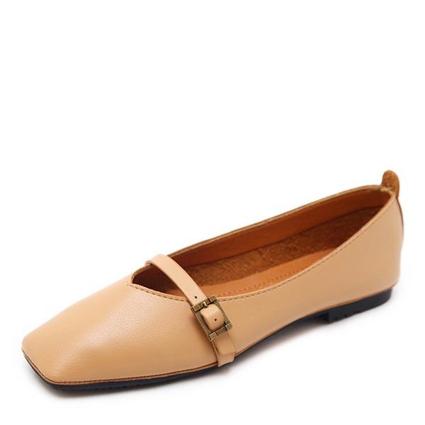 Женщины кожа Плоский каблук На плокой подошве Закрытый мыс обувь
