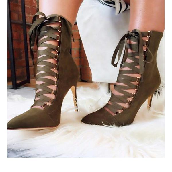 Kadın Süet İnce Topuk Pompalar Kapalı Toe Ile Bağcıklı ayakkabı