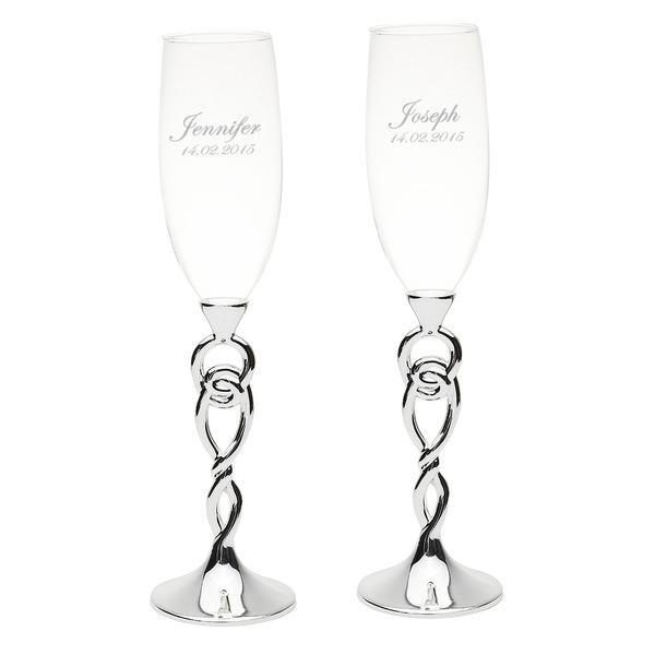Personalized Glass/Aluminum Toasting Flutes (Set of 2)