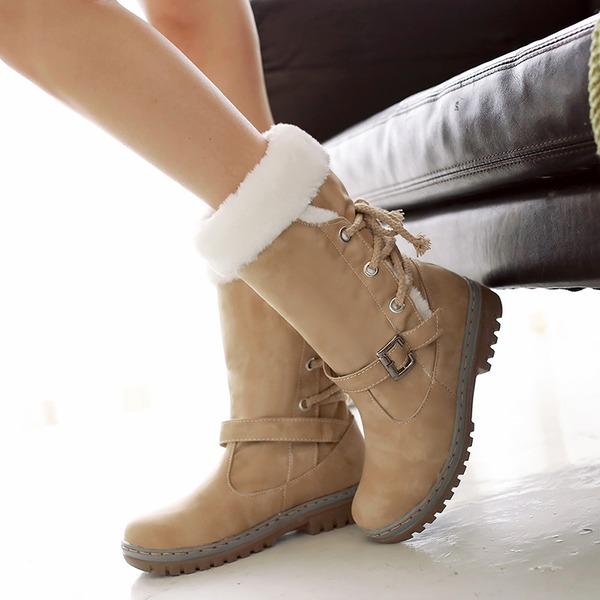 Femmes Similicuir Talon bas Bout fermé Bottes Bottes mi-mollets avec Boucle Dentelle chaussures