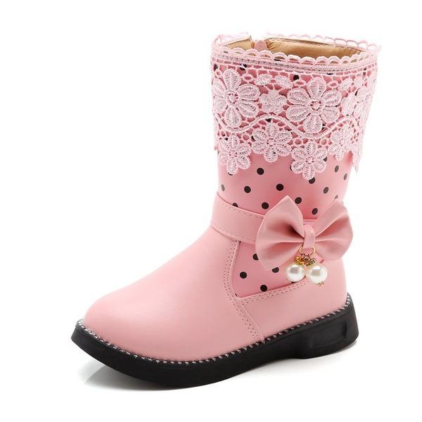 Girl's Ronde neus Half-Kuit Laarzen imitatieleer Flat Heel Flats Laarzen met Kralen strik Rits