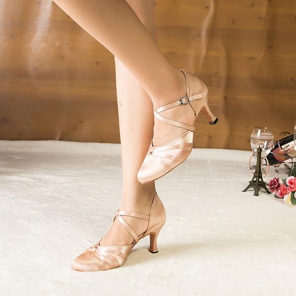 De mujer Satén Tacones Sandalias Salón Sala de Baile Zapatos de danza