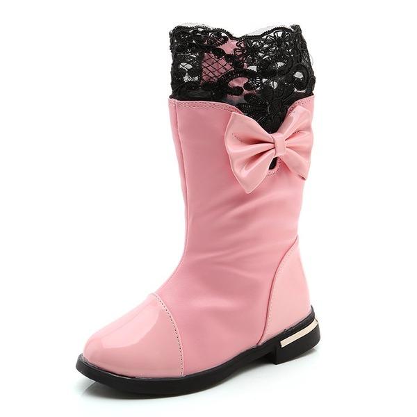 Girl's Ronde neus Half-Kuit Laarzen imitatieleer Flat Heel Flats Laarzen met strik Stitching Lace Rits