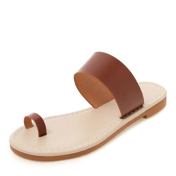 Frauen Kunstleder Flascher Absatz Sandalen Flache Schuhe Peep Toe Slingpumps Pantoffel Schuhe