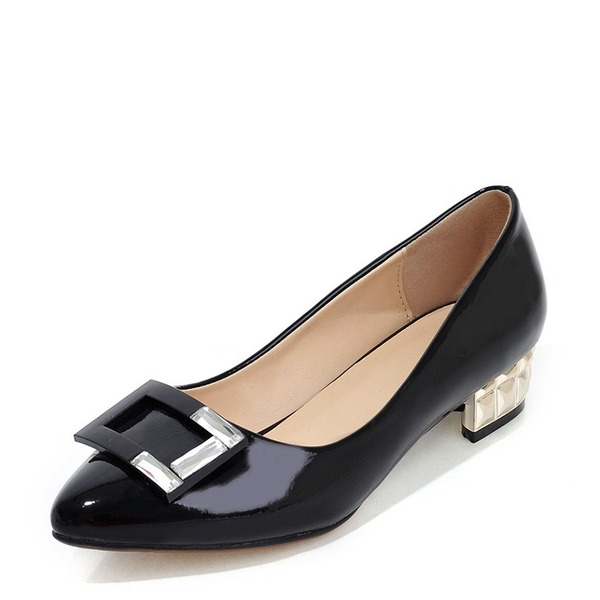 Women's Patent Leather Chunky Heel Flats With Bowknot shoes