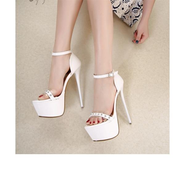 Femmes Similicuir Talon stiletto Sandales Escarpins Plateforme À bout ouvert avec Strass Boucle chaussures