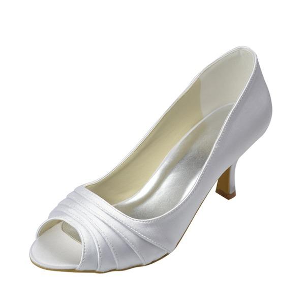 Frauen Satin Niederiger Absatz Peep Toe Sandalen