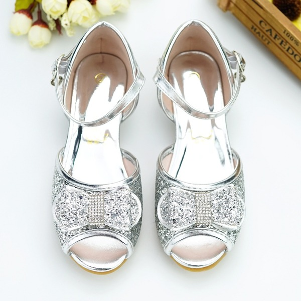 Girl's Peep Toe Leatherette Low Heel Pumps Flower Girl Shoes With Buckle Sequin Sparkling Glitter Velcro