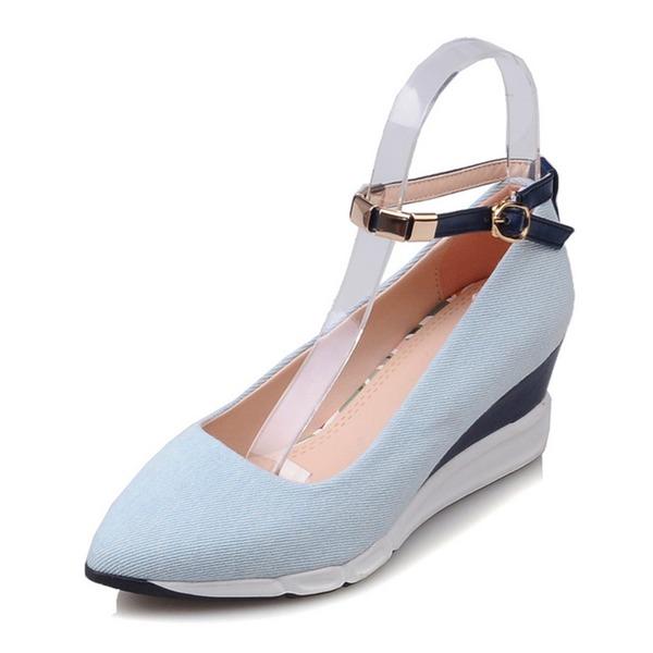 Kadın Mikrofiber Deri Dolgu Topuk Takozlar Ile Toka ayakkabı