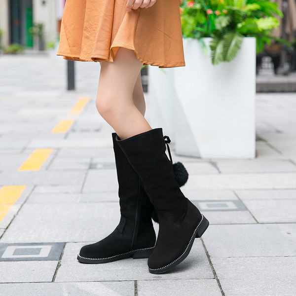 Women's Suede Flat Heel Mid-Calf Boots Snow Boots With Zipper Lace-up shoes