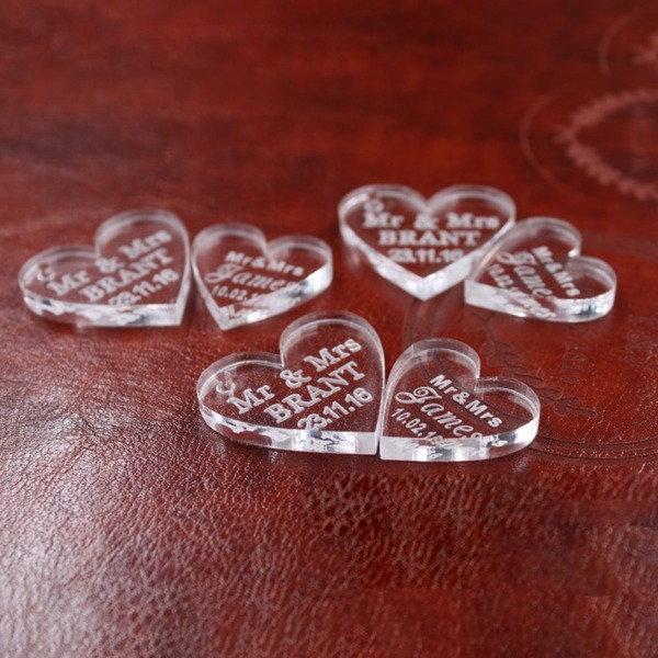 Heart Shaped Delicate Crystal Wedding Ornaments (set of 100)