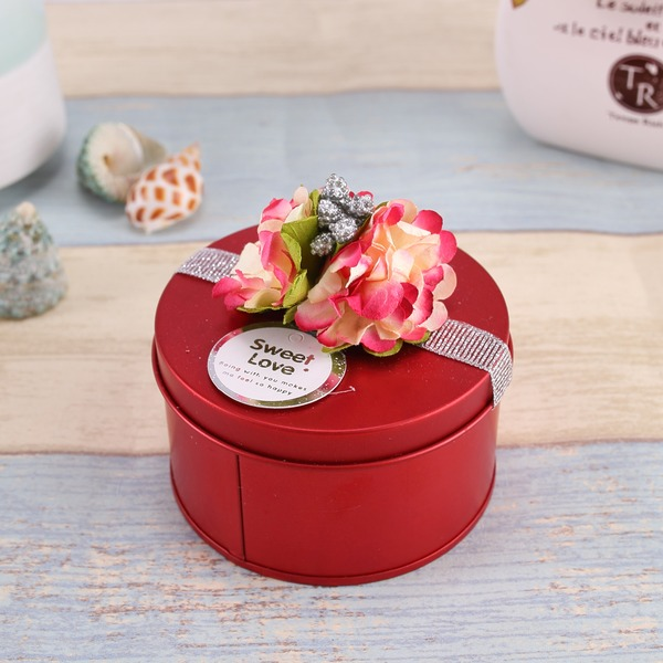 Forever Love Cylinder Favor Tin With Flowers (Set of 12)