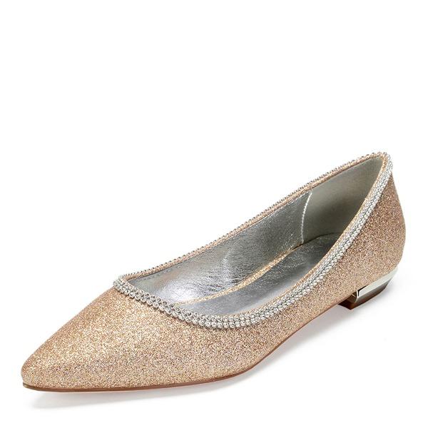 Frauen Funkelnde Glitzer Flascher Absatz Flache Schuhe mit Strass Pailletten Funkelnde Glitzer