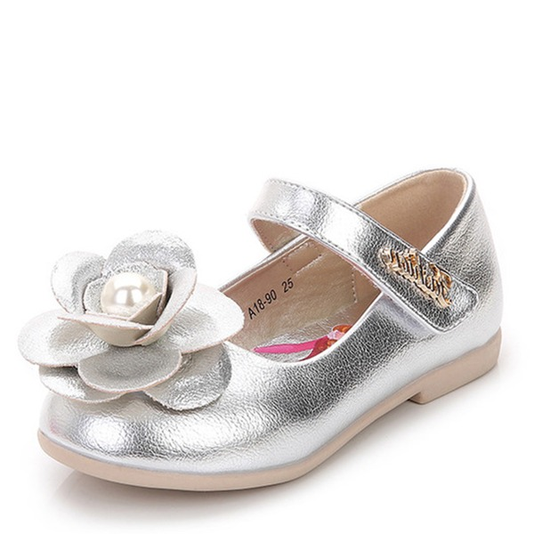 Jentas Round Toe Lukket Tå Patent lær flat Heel Sandaler Flate sko Flower Girl Shoes med Velcro Blomst Crystal