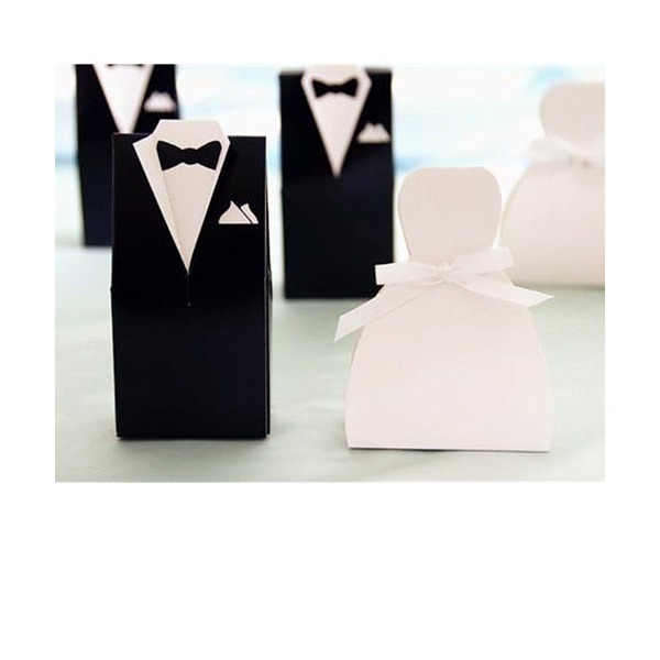 Wedding Dress, Tuxedo Favor Boxes (Set of 12)