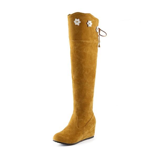 Frauen Veloursleder Keil Absatz Geschlossene Zehe Stiefel Kniehocher Stiefel Stiefel über Knie Schneestiefel mit Reißverschluss Zuschnüren Blume Schuhe