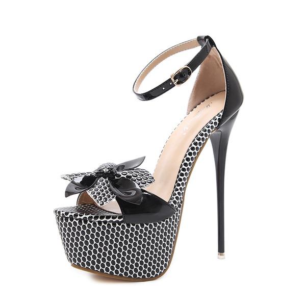 Frauen PU Stöckel Absatz Sandalen Absatzschuhe Peep Toe mit Bowknot Schnalle Schuhe