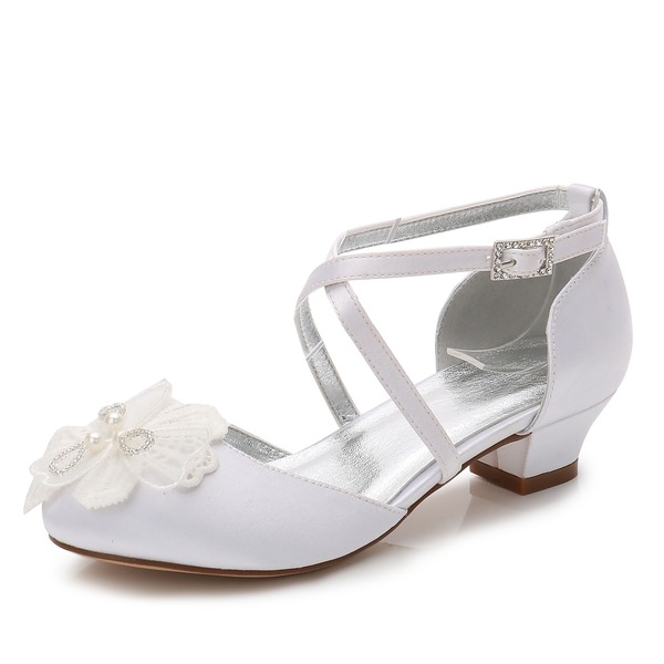 Flicka rund tå Stängt Toe Mary Jane Silk som Satin låg klack Flower Girl Shoes med Strass Applikationer