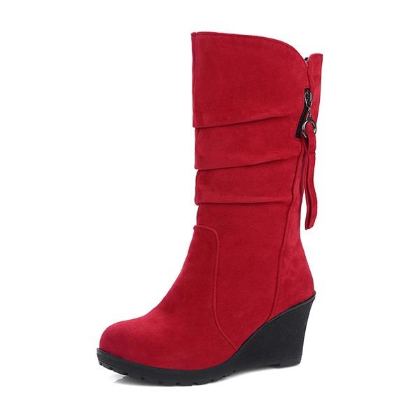 Frauen Veloursleder Keil Absatz Geschlossene Zehe Keile Stiefel Stiefel-Wadenlang mit Reißverschluss Schuhe