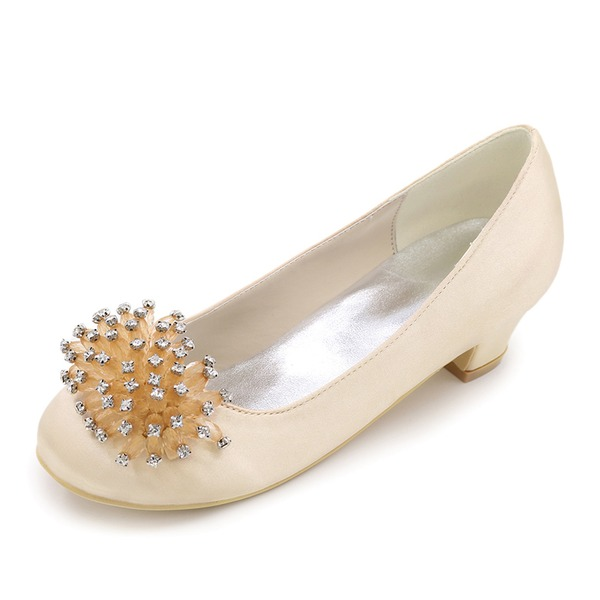 Bout fermé Low Heel Escarpins Chaussures de fille de fleur avec Strass