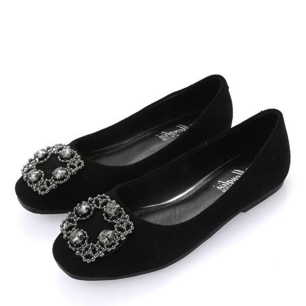 Mulheres Camurça Sem salto Sem salto Fechados com Strass sapatos