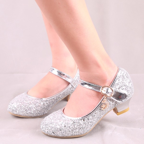 Jentas Round Toe Lukket Tå Leather Sparkling Glitter lav Heel Flate sko Flower Girl Shoes med Spenne