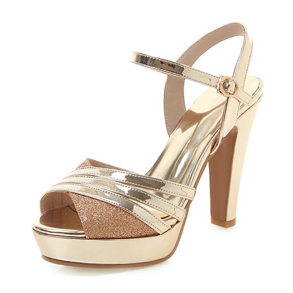 Donna Pelle verniciata Tacco spesso Sandalo Stiletto Piattaforma Punta aperta con Cava-out scarpe