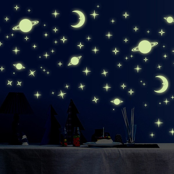 Moon Star Shape Design Luminous Wall Sticker (Sold in a single piece)