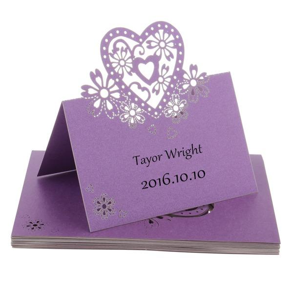 W kształcie serca Pearl Paper Place Cards (Zestaw 12)