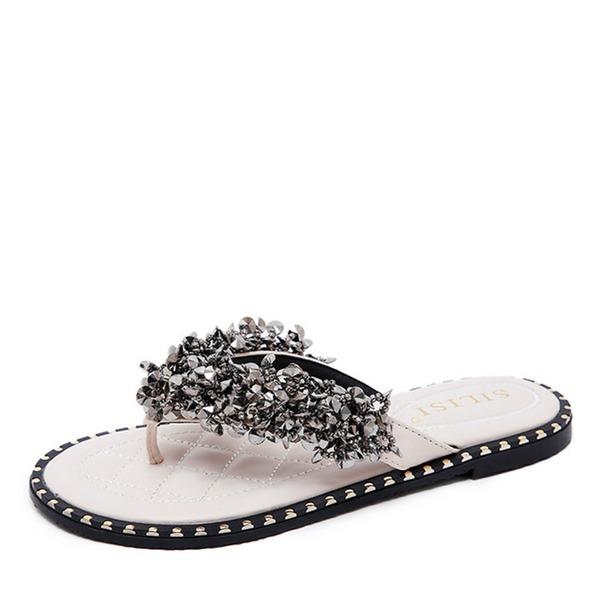 Frauen Kunstleder Flascher Absatz Flache Schuhe Flip Flops Peep-Toe Slingpumps mit Pailletten Kristall
