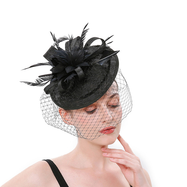 Ladies ' Enkle/Smuk Netto garn med Fjer Fascinators