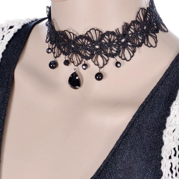 Mode Lace mit Nachahmungen von Perlen Damen Mode-Halskette