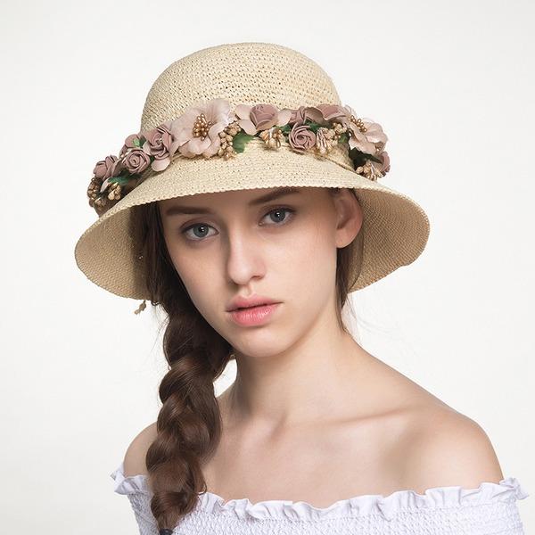 Dames Uniek Raffia Stro met strik/Bloem Strohoed